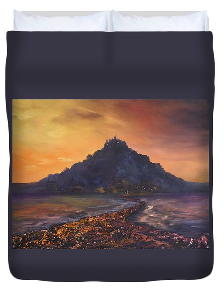 Duvet Cover featuring the painting Dusk Over St Michaels Mount Cornwall by Jean Walker