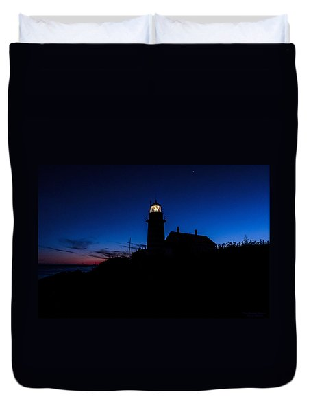 Dusk Silhouette At West Quoddy Head Lighthouse Duvet Cover by Marty Saccone