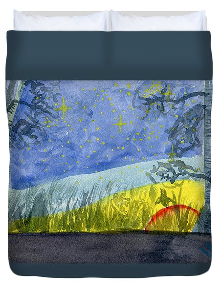 Dusky Scene Of Stars And Beans Duvet Cover