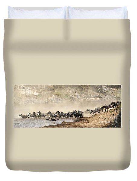 Duvet Cover featuring the photograph Dusty Crossing by Liz Leyden