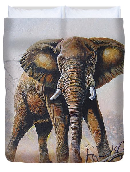 Duvet Cover featuring the painting Dusty Jumbo by Anthony Mwangi