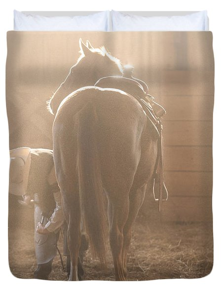 Dusty Morning Pedicure Duvet Cover by Carol Lynn Coronios