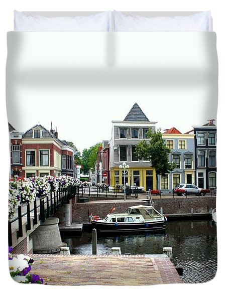 Dutch Cityscape With Boats Duvet Cover by Carol Groenen