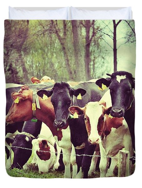 Duvet Cover featuring the photograph Dutch Cows by Nick  Biemans
