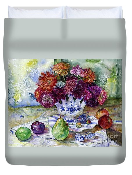 Dutch Dahlia Delights Duvet Cover