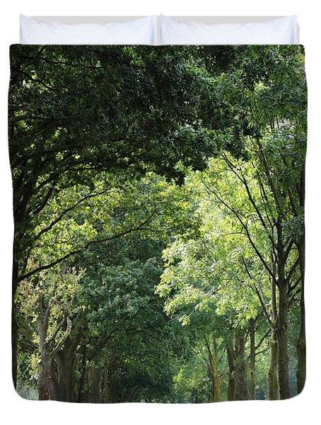 Dutch Landscape - Country Road Duvet Cover by Carol Groenen
