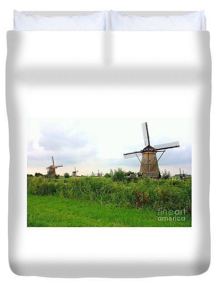 Dutch Landscape With Windmills Duvet Cover by Carol Groenen