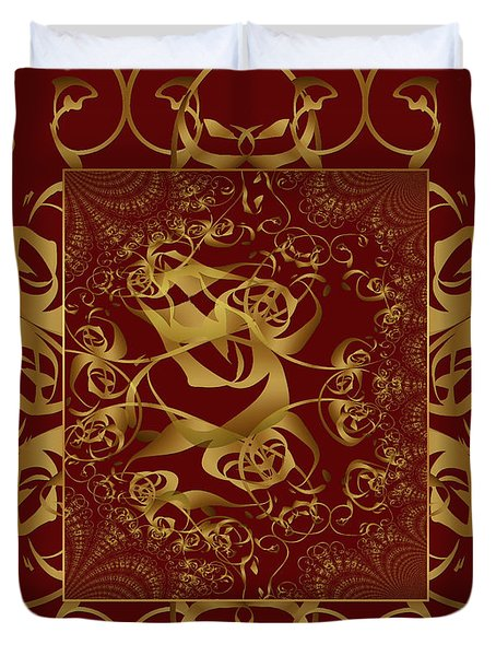 Duvet Cover featuring the photograph Duvet Burgundy Gold by Robert Kernodle