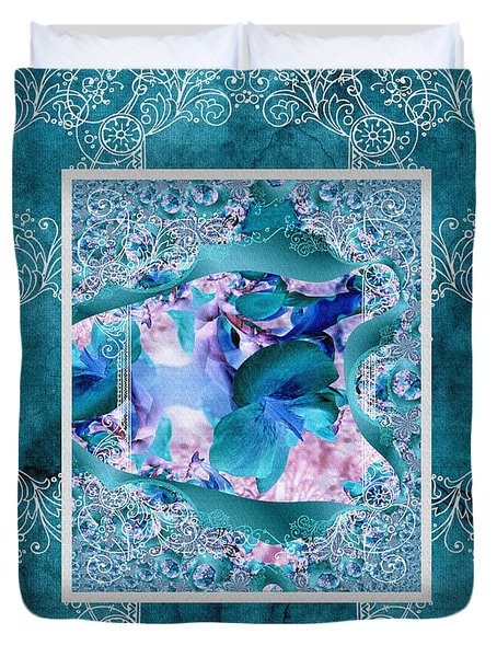 Duvet Cover featuring the photograph Duvet Teal Flower by Robert Kernodle