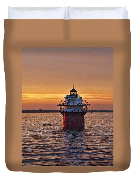 Duxbury Pier Light At Sunset Duvet Cover