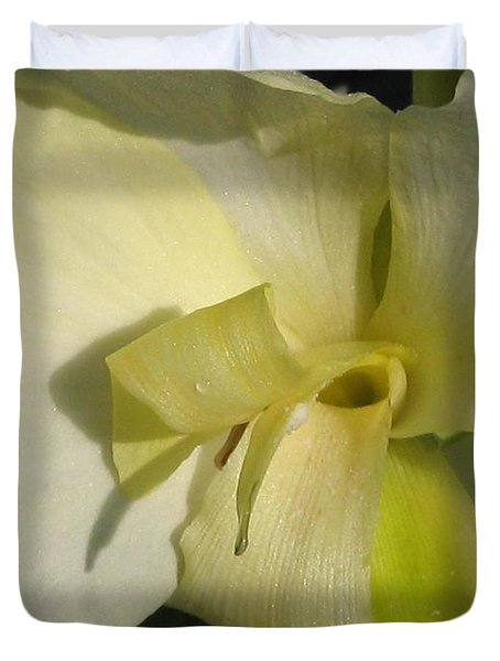 Duvet Cover featuring the photograph Dwarf Canna Lily Named Ermine by J McCombie