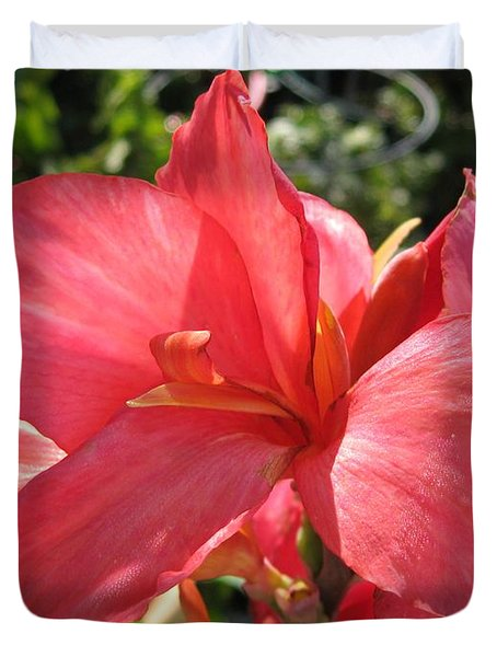 Duvet Cover featuring the photograph Dwarf Canna Lily Named Shining Pink by J McCombie