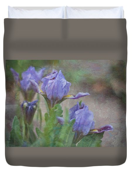 Dwarf Iris With Texture Duvet Cover by Patti Deters