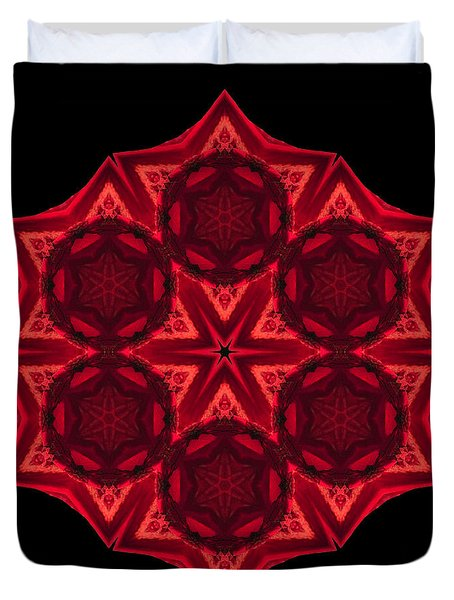 Duvet Cover featuring the photograph Dying Amaryllis IIi Flower Mandala by David J Bookbinder