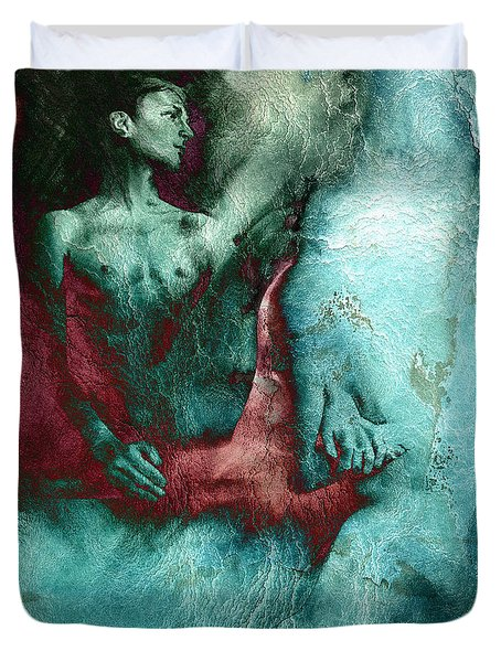 Duvet Cover featuring the drawing Dylan With Mood Texture by Paul Davenport