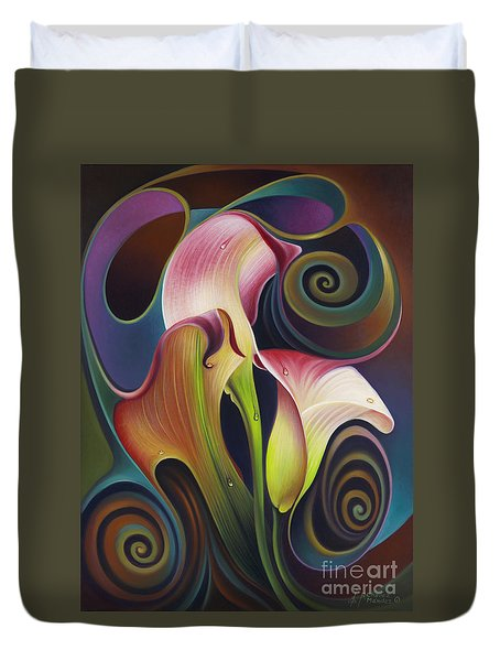 Dynamic Floral 4 Cala Lillies Duvet Cover