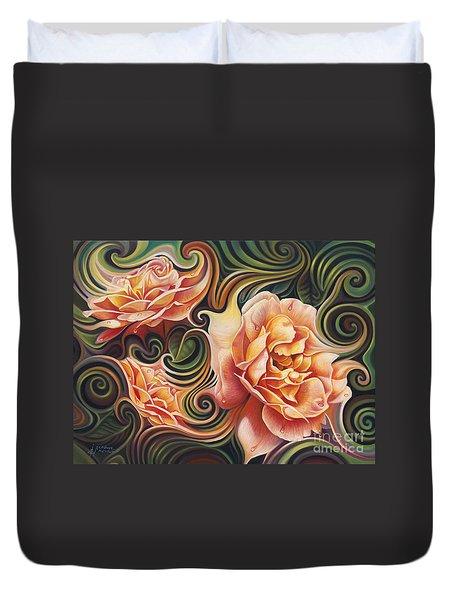 Dynamic Floral V  Roses Duvet Cover