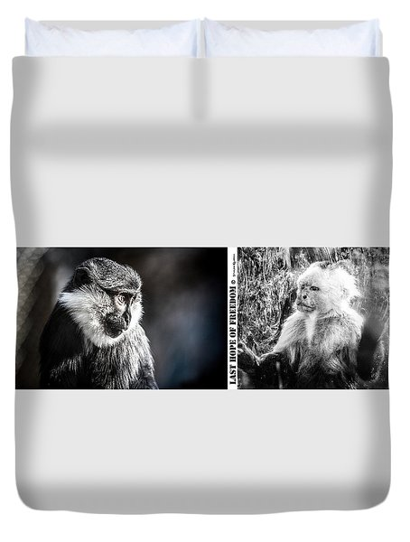 Duvet Cover featuring the photograph diptych Last hope of Freedom  by Stwayne Keubrick