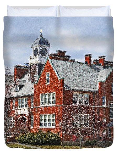 Duvet Cover featuring the photograph E B Newton School Winthrop Ma by Caroline Stella