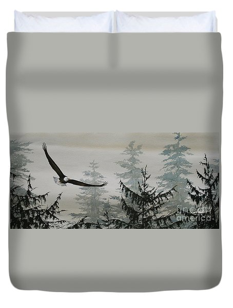 Eagle And Cedars Duvet Cover by James Williamson