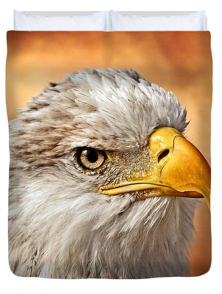 Eagle At Sunset Duvet Cover by Marty Koch