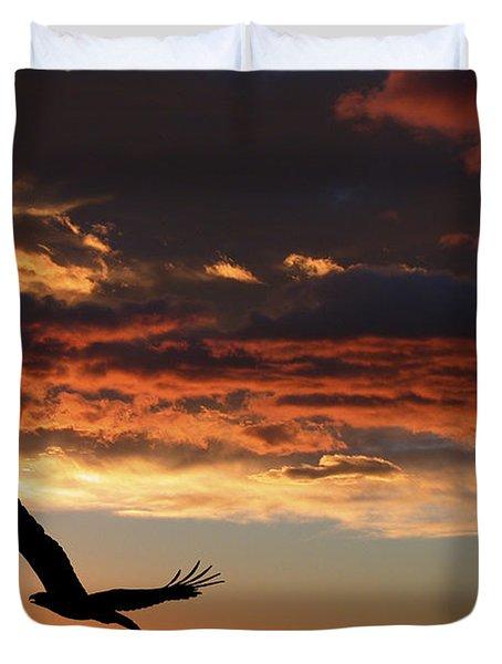 Eagle At Sunset Duvet Cover