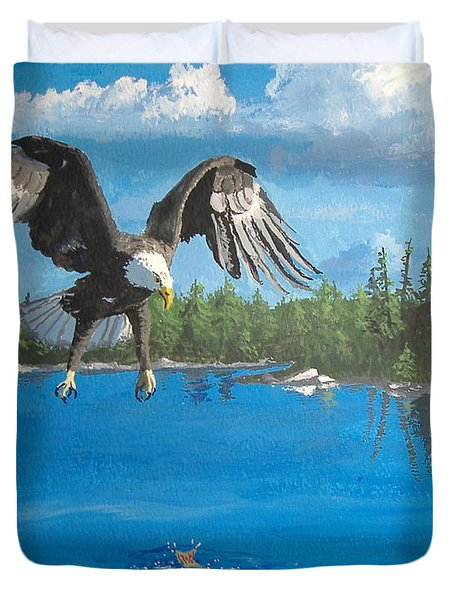Eagle Attack Duvet Cover by Norm Starks