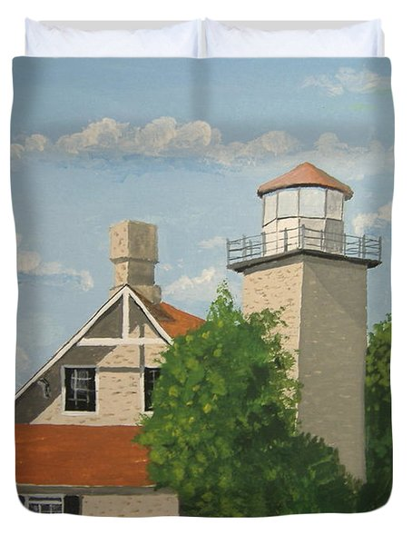 Duvet Cover featuring the painting Eagle Bluff Lighthouse Wisconsin by Norm Starks