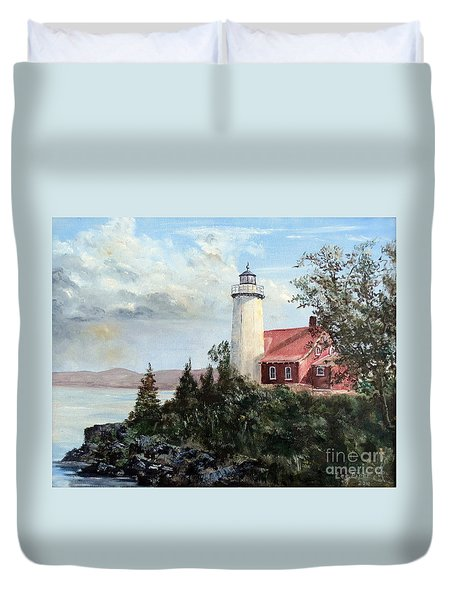 Eagle Harbor Light Duvet Cover by Lee Piper