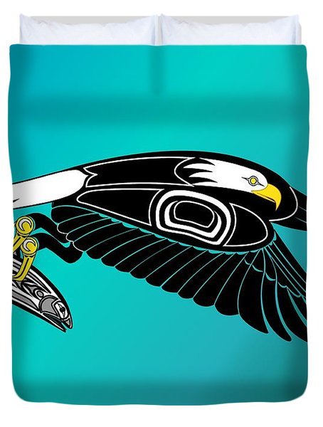 Eagle In Flight With Salmon Duvet Cover