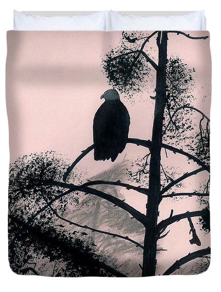 Duvet Cover featuring the drawing Eagle In Pink Sky by D Hackett