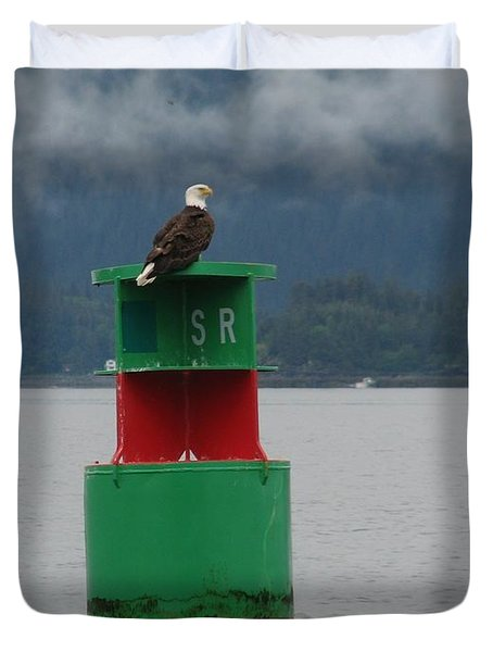Eagle On Bouy Duvet Cover