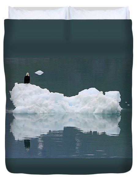 Eagle On Ice Duvet Cover by Shoal Hollingsworth