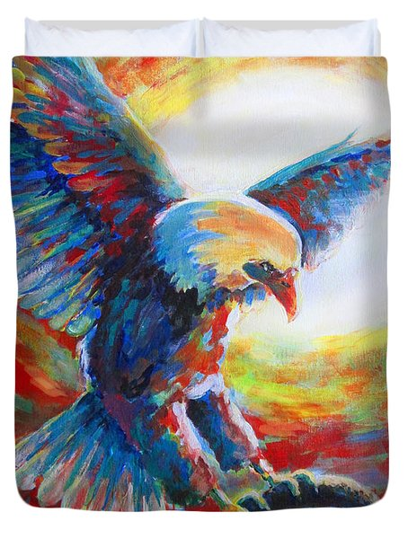 Eagle Takes Charge Duvet Cover by Tamer and Cindy Elsharouni