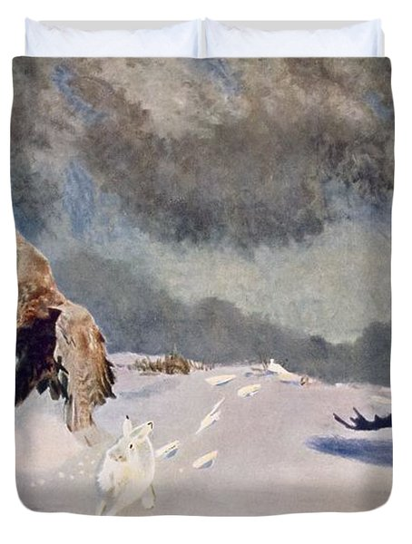 Eagles And Rabbit, 1922 Duvet Cover by Bruno Andreas Liljefors