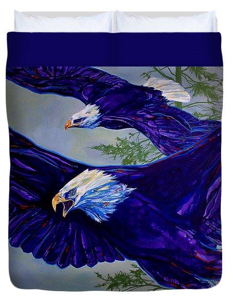Eagles  Duvet Cover by Derrick Higgins