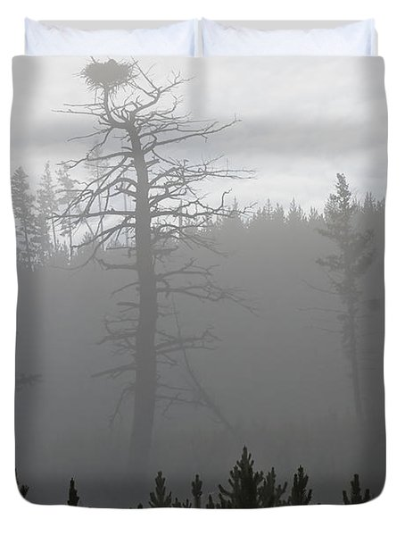 Eagle's Nest In Fog Duvet Cover