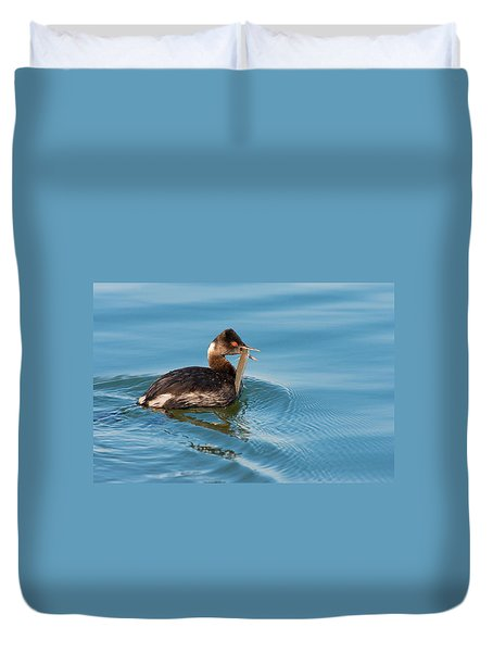 Eared Grebe And Fish Duvet Cover