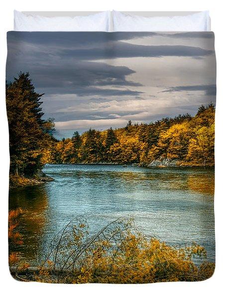 Early Autumn Along The Androscoggin River Duvet Cover by Bob Orsillo