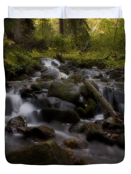 Duvet Cover featuring the photograph Early Autumn Cascades by Ellen Heaverlo