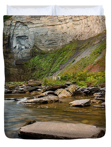 Early Autumn Morning At Taughannock Falls Duvet Cover
