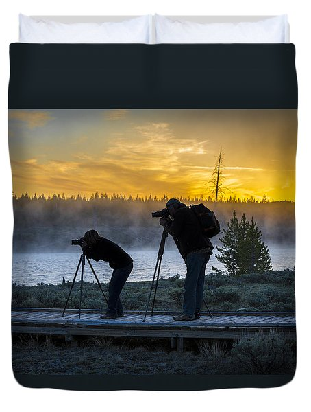 Early Birds Yellowstone National Park Duvet Cover
