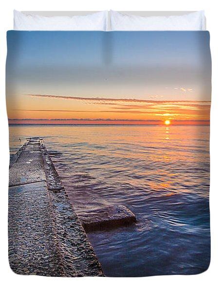 Early Breakwater Sunrise Duvet Cover