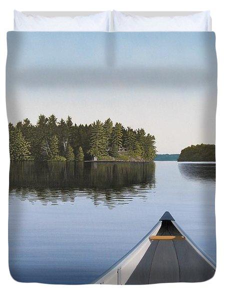 Early Evening Paddle Aka Paddle Muskoka Duvet Cover
