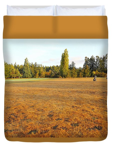Early Fall Morning In The Rough On The Golf Course Duvet Cover