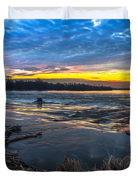 Early March Sunset Over Narew River In Poland Duvet Cover