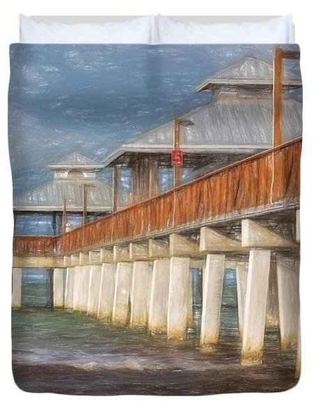 Early Morning At Fort Myers Beach Duvet Cover