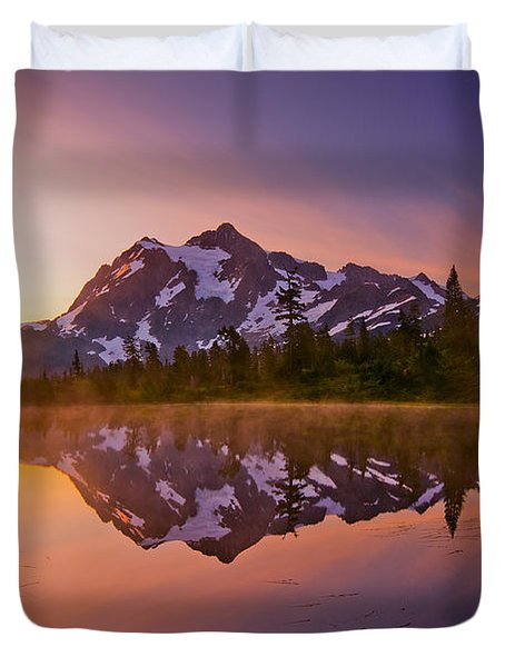 Early Morning At Picture Lake Duvet Cover by Darren  White