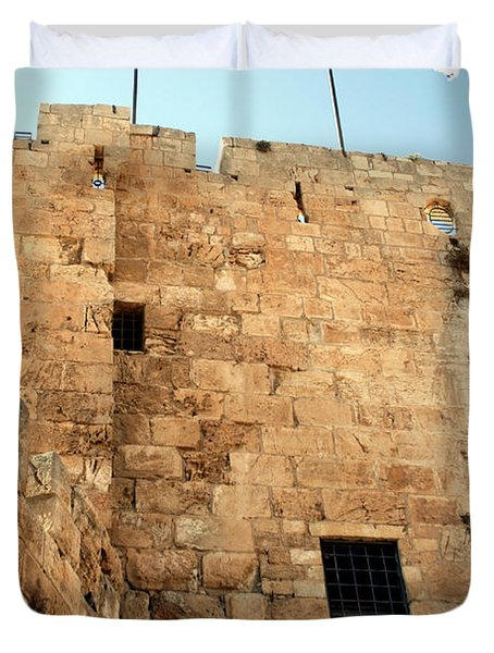 Duvet Cover featuring the photograph Early Morning At The Jaffa Gate by Doc Braham