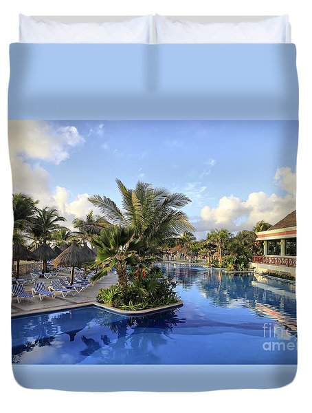 Early Morning At The Pool Duvet Cover by Teresa Zieba